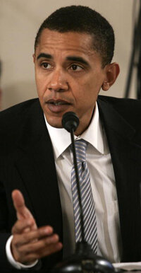 Obama speaks at a hearing in Washington on the 2006 budget for Veterans Affairs in February 2005.