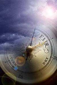 Barometer superimposed over storm clouds (Digital Composite)