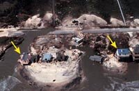 Hurricane Fran damaged Topsail Island in 1996 (top: before, bottom: after). Note how the overwash damaged the road and even broke through the island in places.