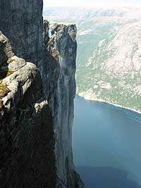 Kjerag on Lysefjord in Norway, a popular and legal BASE jumping location.
