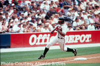 Braves outfielder Andruw Jones rounds third base.