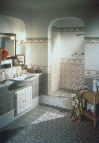 Intricate tiles look great in a Mediterranean-style bath.