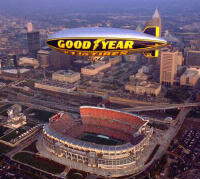 Blimp covering a Cleveland Browns football game