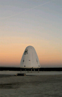 The Goddard test vehicle successfully completed the test launch that sent it up 285 feet.
