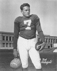 Bob Waterfield played                              quarterback for the                                            Cleveland Browns and led                                             the NFL in passing in 1946                                             and 1951. See more pictures                                            of football stars.