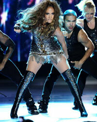 Jennifer Lopez performs in a pair of glittering OTKs.