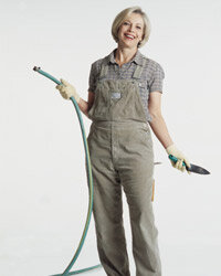 Why is this lady so happy? Maybe because she bought her landscaping tools late in the season.