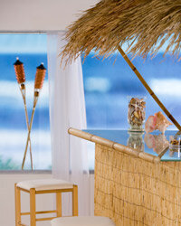 If your tastes don't run quite so Polynesian-kitsch, you could skip the bamboo and finish your outdoor minibar however you like.