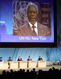 U.N. Secretary-General Kofi Annan marking the Kyoto Protocol's entry into force in February 2005.