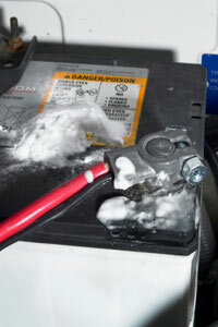 Using baking soda and water helps clean sulfate deposits from your terminal cable clamps and posts.