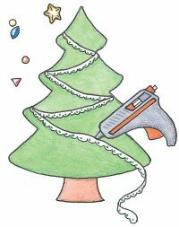 It may take some fancy hand work to arrange the tree garland, so take your time.