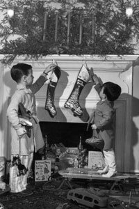 Christmas stockings may have come from a Dutch custom of placing wooden shoes out the night before Christmas. See more Christmas pictures.
