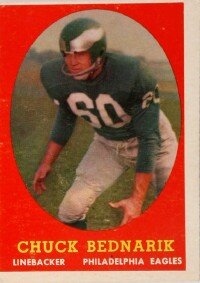 Chuck Bednarik often thwarted the opposition's air attack with outstanding defensive play. See more pictures of football.