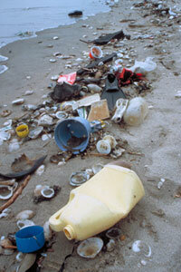 Unlike this beached plastic, the tiny particles that make up the Great Pacific Garbage Patch aren't within easy reach.