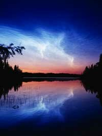 Noctilucent clouds photographed at Alaska's Kenai National Wildlife Refuge.