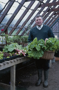 Anything that can hold soil and plants and drain water will work for container gardening. Here, a gardener displays some baskets used for gardening in the greenhouse of Glin Castle in County Limerick, Ireland.