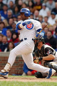 Sosa breaks his bat in September 2003, the same season that the legendary hitter was found to have used a corked bat. See more sports pictures.