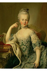 The silhouette that was popular in Marie Antoinette's time was a funnel shape, rather than the hourglass that became vogue in the Victorian era.