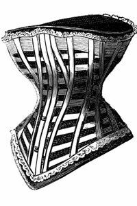 This illustration of a Victorian-era corset shows the boned structure and the busk closure at the front of the garment.