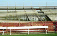 Metal bleachers cost more to replace than thieves can get in exchange for them.