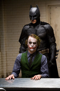 "Christian Bale as ""Batman"" and Heath Ledger as ""The Joker"". See more Batman pictures."