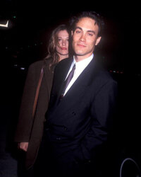 "Lee with his fiance, Eliza Hutton, in March 1992. The end credits of ""The Crow"" declare the film to be ""For Brandon and Eliza."""