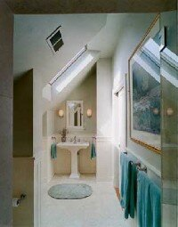 Save space by placing the sink under an eave.