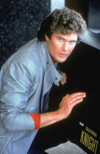 "David Hasselhoff (as Michael Knight) poses with K.I.T.T., the high-tech star of ""Knight Rider."" See more exotic car pictures."