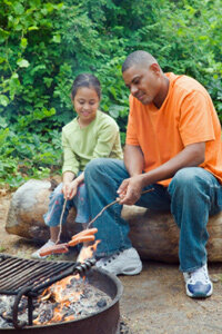 Grab your dogs and buns. The fire pit is a great place to enjoy a meal.
