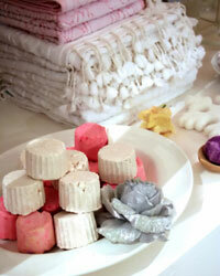 Homemade soaps beside the bathroom sink make festive and sweet-smelling decorations.