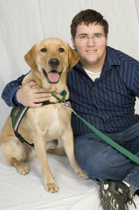 Mitch Peterson and his seizure response dog London