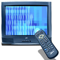 Digital TV uses a digital signal rather than a radio signal.  See HDTV pictures.