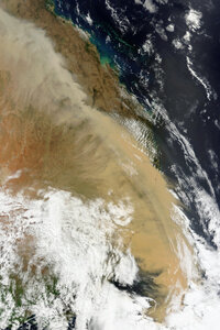 Even from space, dust storms are visible along the Australian coast on Sept. 23, 2009. This image was captured by the Moderate Resolution Imaging Spectroradiometer on the Terra satellite owned by NASA.