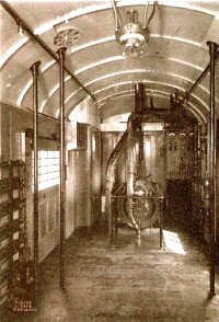 From about 1880 to 1900, Pintsch carbide gas lights were the lighting of choice on most trains. The next wave of progress was electrical train lighting, seen here inside a Chicago & North Western baggage car built in 1913.