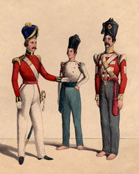 Uniforms of the East India Company's private army, circa 1843