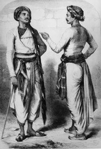 Bengali sepoys, Indian soldiers that revolted 1857 against the exploitive practices of the East India Company