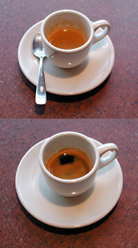 Espresso -- note the rich, reddish crema floating on top