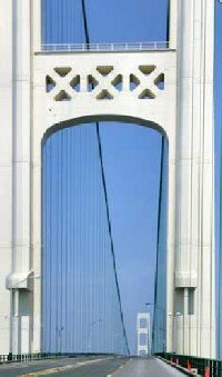 The nearly five-mile-long Mackinac Bridge,                                  including approaches, links the upper and                                                  lower Michigan peninsulas.