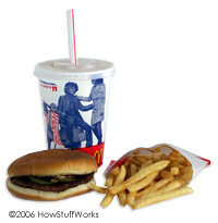 A regular burger, small fries and small Coke