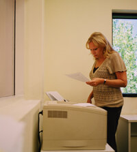 Fax marketers send fax specials to office employees.