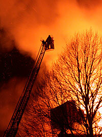 To pass the physical portion of the firefighter exam (CPAT), recruits must be able to quickly climb an extended ladder.