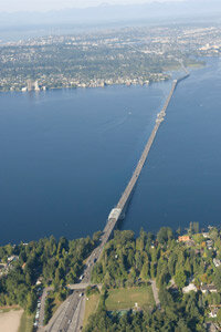 This is the Albert D. Rosellini Bridge - Evergreen Point in Washington State. It's the longest floating bridge in the world and is slated for replacement by an even bigger and hardier bridge. See more bridge pictures.