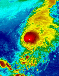 An infrared satellite image of Hurricane Noel, taken Nov. 1, 2007.