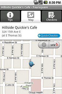 After you check in, Foursquare marks your location on a map, allowing friends to find you if they're in the neighborhood.