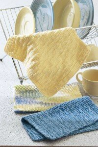 Dishtowels so easy to make that you can watch TV while you're knitting.