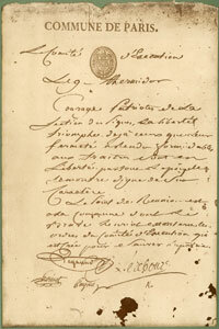 A copy of Robespierre's last declaration to the people of France. It's stained with blood from his failed suicide attempt.