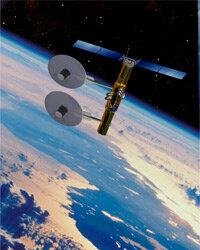 Military signals intelligence-gathering satellite orbiting high above Earth