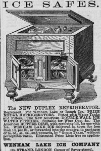 An 1874 advertisement for the Ice Safe duplex refrigerator heralded a revolution in food preservation.
