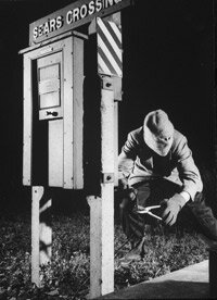 A re-enactment of the signal switch that allowed the robbers to board the Up Special.