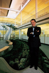 Green-collar jobs also include professions in the design field. The architect William McDonough stands in a green building he designed.
